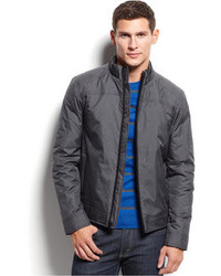 Alfani Quilted Faux Leather Trim Bomber Jacket