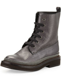 Brunello Cucinelli Monili Trim Lace Up Boot Graphite