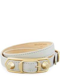 Balenciaga Metallic Edge Leather Wrap Bracelet Graygold