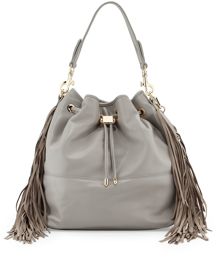 Deux Lux Fringe Bucket Hobo Bag Light Gray | Where to buy & how to ...