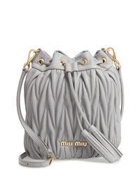 Miu Miu Matelasse Lambskin Leather Bucket Bag