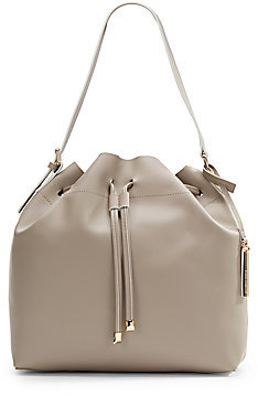 Leather Drawstring Bucket Bag Grey By Vince Camuto