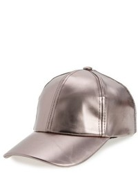 Metallic Faux Leather Baseball Cap Grey