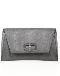Diane von Furstenberg 440 Gallery Uptown Metallic Lizard Embossed Leather Envelope Clutch