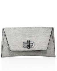 Diane von Furstenberg Gallery Uptwon Structured Metallic Leather Clutch