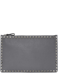 Valentino Grey Leather Rockstud Pouch
