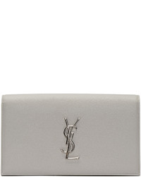 Saint Laurent Grey Monogram Envelope Clutch