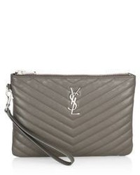 Saint Laurent Large Monogrom Matelasse Leather Pouch