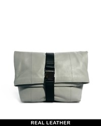 Asos Leather Oversized Soft Clutch Bag With Seat Belt Fastening Grey