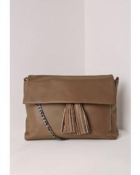 Missguided Chain Strap Tassel Clutch Bag Brown