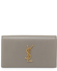 Saint Laurent Monogram Calfskin Clutch Bag Fog Gray