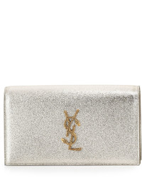 Saint Laurent Monogram Grained Serpent Clutch Bag Gold