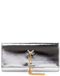 Saint Laurent Monogram Metallic Tassel Clutch Bag Silver