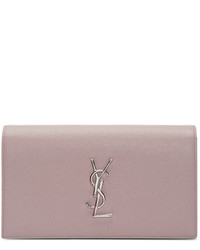 Saint Laurent Pink Monogram Envelope Clutch
