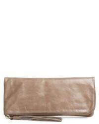 Hobo Raine Calfskin Leather Foldover Clutch Grey
