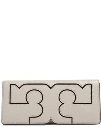 Tory Burch Serif Leather Clutch Green