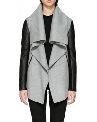 Grey Leather Coat