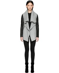 Mackage Vane Luxe Wool Waterfall Collar Jacket In Light Grey
