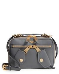 Moschino Grainy B Leather Camera Bag Grey