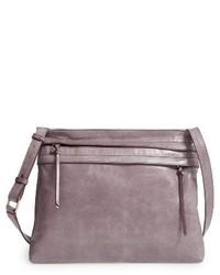 Hobo Larkin Leather Messenger Bag Grey