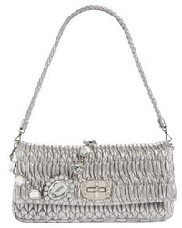 Miu Miu Medium Swarovski Crystal Chain Leather Shoulder Bag Beige