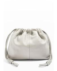 Topshop Premium Leather Drawstring Crossbody Bag Grey