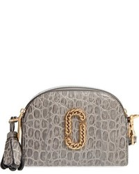 Marc Jacobs Small Shutter Leather Crossbody Bag Grey