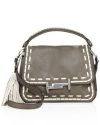 Tod's Stitch Detailed Double T Leather Messenger Bag