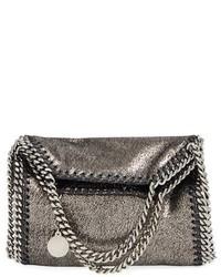 Stella McCartney Tiny Falabella Metallic Faux Leather Crossbody Bag Grey