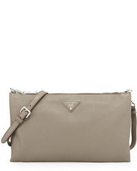 Prada Vitello Daino Crossbody Bag Gray