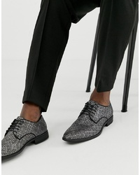 ASOS DESIGN Lace Up Shoes In Black And Silver Jacquard