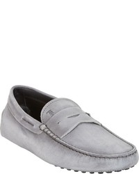 Tod's Burnished Gommino Penny Drivers Grey