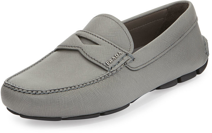 77baf699df7 ... Prada Saffiano Leather Penny Loafer Gray ...