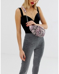 Missguided Snake Zip Detail Chain Bumbag In Grey Snake