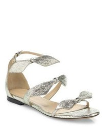Chloé Chloe Mia Metallic Leather Knotted Bow Flat Sandals
