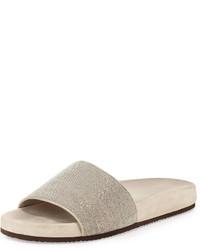 Brunello Cucinelli Monili One Band Flat Sandal Slide Desert