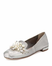 Miu Miu Pearly Jeweled Metallic Leather Flat