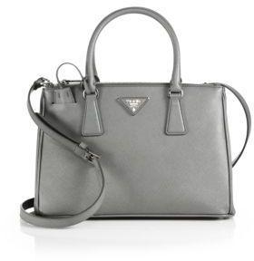 36255b029cd1 ... Saks Fifth Avenue › Prada › Grey Leather Handbags Prada Saffiano Lux  Small Double Zip Tote ...
