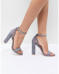 LOST INK Blaise Grey Block Heel Sandals