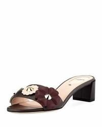 Fendi Flowerland Block Heel Slide Sandal Gray