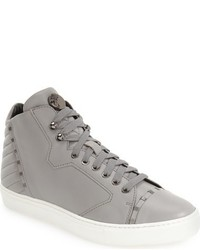 Grey Leather High Top Sneakers