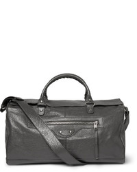 Grey Leather Holdall