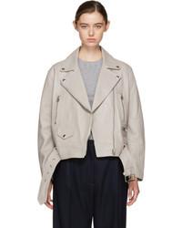 Grey leather merlyn jacket medium 5266640