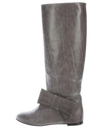 Leather bow knee high boots medium 6860590