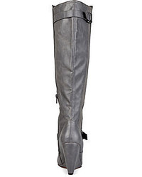 a20fd6e46d2 Journee Collection Skye Knee High Buckle Strap Wide Calf Wedge Boots ...