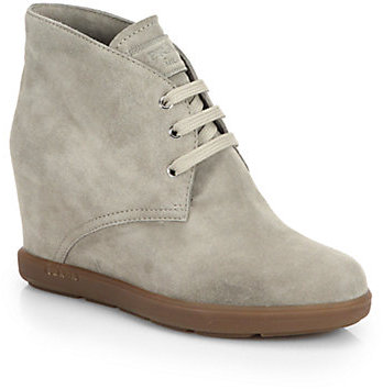 a08c6c28d58 $670, Prada Suede Wedge Ankle Boots