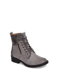 Grey Leather Lace-up Flat Boots