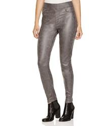 Jen 7 Nappa Faux Leather Skinny Pants In Dark Grey