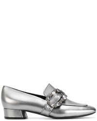 Casadei Crystal Buckle Loafers