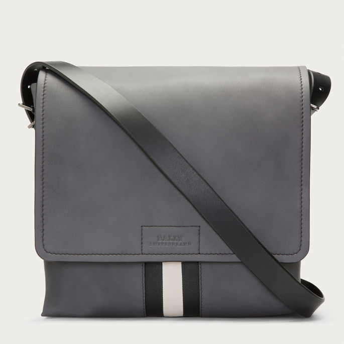 ... Bally Brant Leather Messenger Bag In Gray ... 8fa5e45ad545d